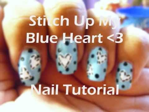 Stitch Up My Blue Heart nail tutorial