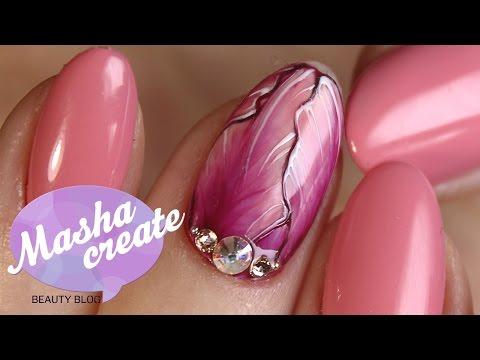 Весенний маникюр с цветами. Дизайн ногтей Тюльпаны. Маникюр с Рисунком гель лаком