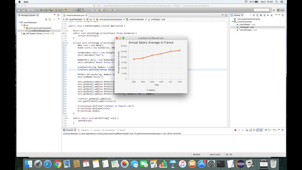 Create a Line Chart with JavaFX Chart API