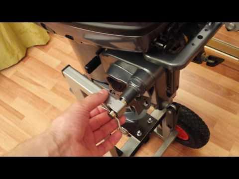 Тележка для лодочного мотора со съемной ручкой-транцем