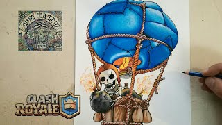 COMO DIBUJAR EL GLOBO BOMBASTICO - CLASH ROYALE / how to draw balloon - clash royale