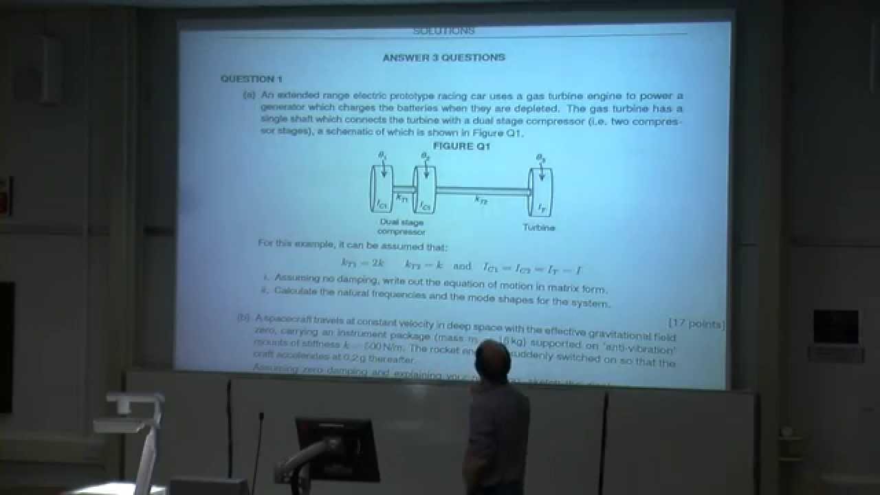Dynamics, Noise & Vibration - 3 DOF System (2013 Exam Q1)