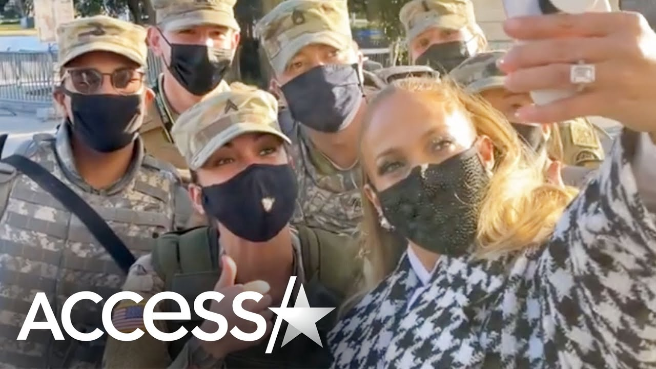 Jennifer Lopez Poses w/ National Guard Ahead Of Joe Biden Inauguration
