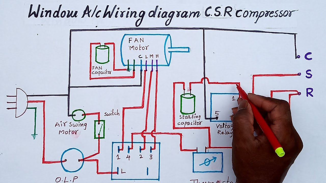 Window ac wiring in telugu (PSC and CSR) - YouTube | Window Ac Capacitor Wiring Diagram |  | YouTube