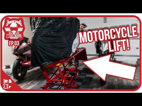 I got a MOTORCYCLE LIFT!! - Garage Build Ep 03