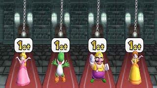 Mario Party 9 - All Funny Minigame Battles - Peach Vs Yoshi  Vs Wario Vs Daisy (Master Difficulty)