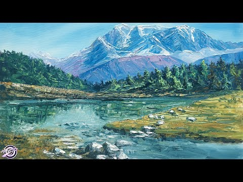 Mountain and lake | Landscape Painting | Nature Painting | Scenery Painting | Acrylic Painting