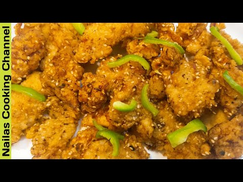 Crispy Sesame Fried Chicken Recipe in Urdu/Hindi by Nailas Cooking Channel