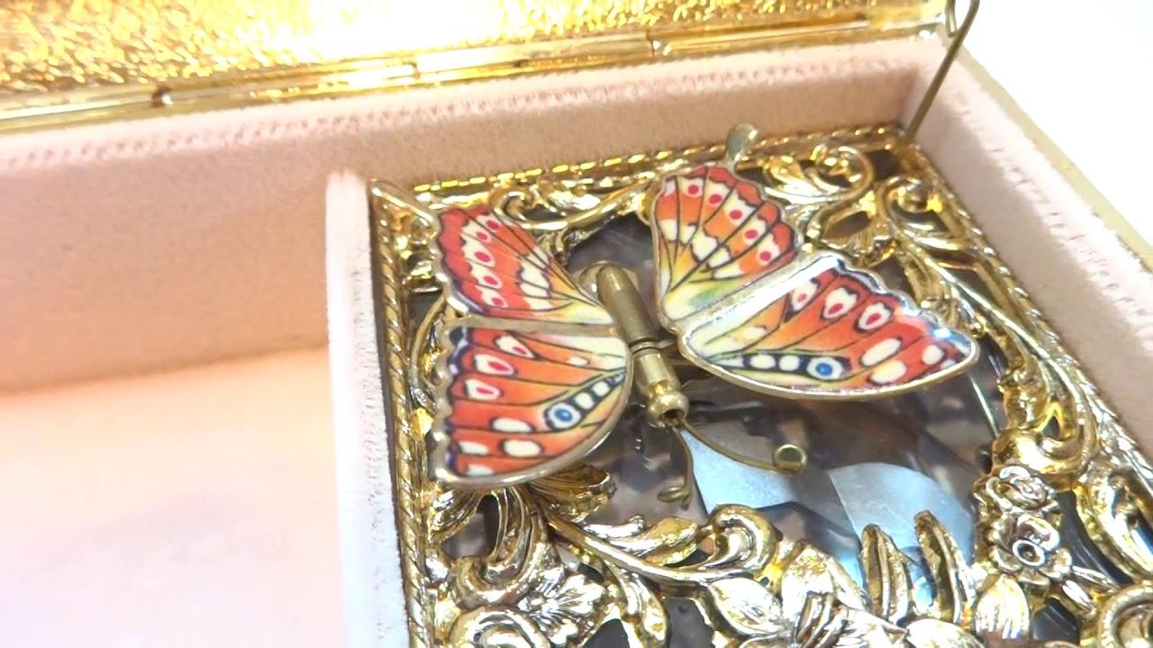 Vintage butterfly automaton musical jewelry box, music box