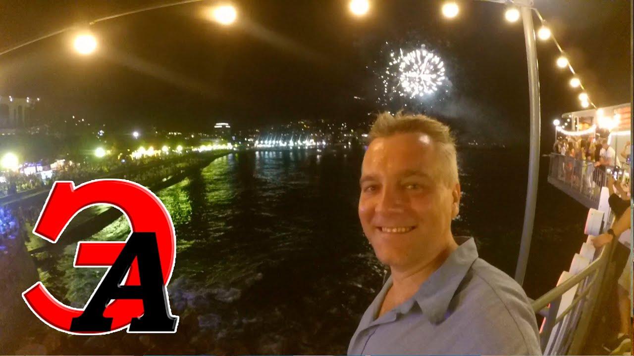 #187. Салют в Ялте. День Ялты 2020. Праздничный фейерверк. Толпы туристов на набережной Ялты. Крым