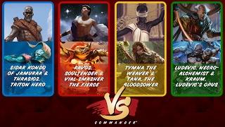Commander VS S6E5: Sidar Kondo/Thrasios vs Ravos/Vial Smasher vs Tymna/Tana vs Ludevic/Kraum [MTG]