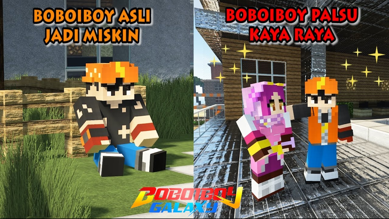 BoBoiBoy Asli Jadi Miskin, BoBoiBoy Palsu Jadi Kaya Raya - Minecraft BoBoiBoy Mod