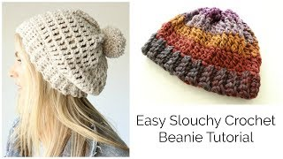 Easy Slouchy Crochet Beanie Tutorial - Treble stitch