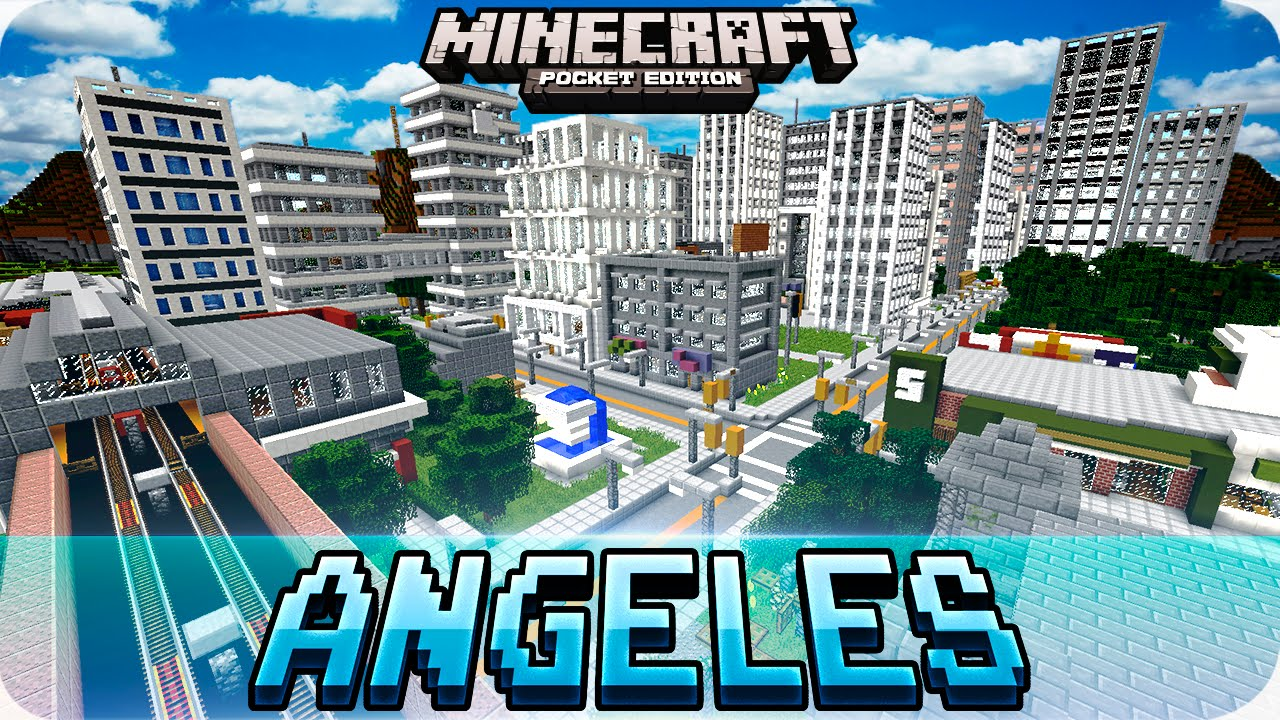 Minecraft PE Maps HUGE Blocks Angeles City Map With Download - Nyc city map portal