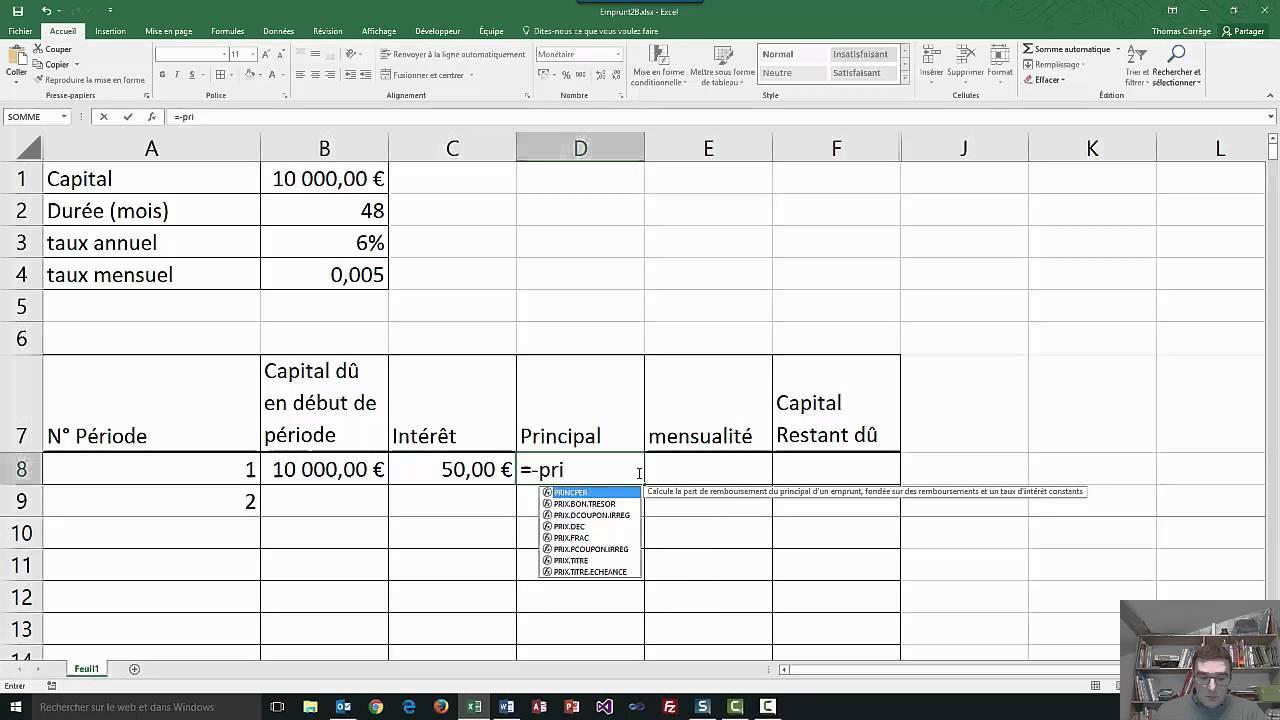 Excel 2016 tableau emprunt youtube - Excel tableau d amortissement ...