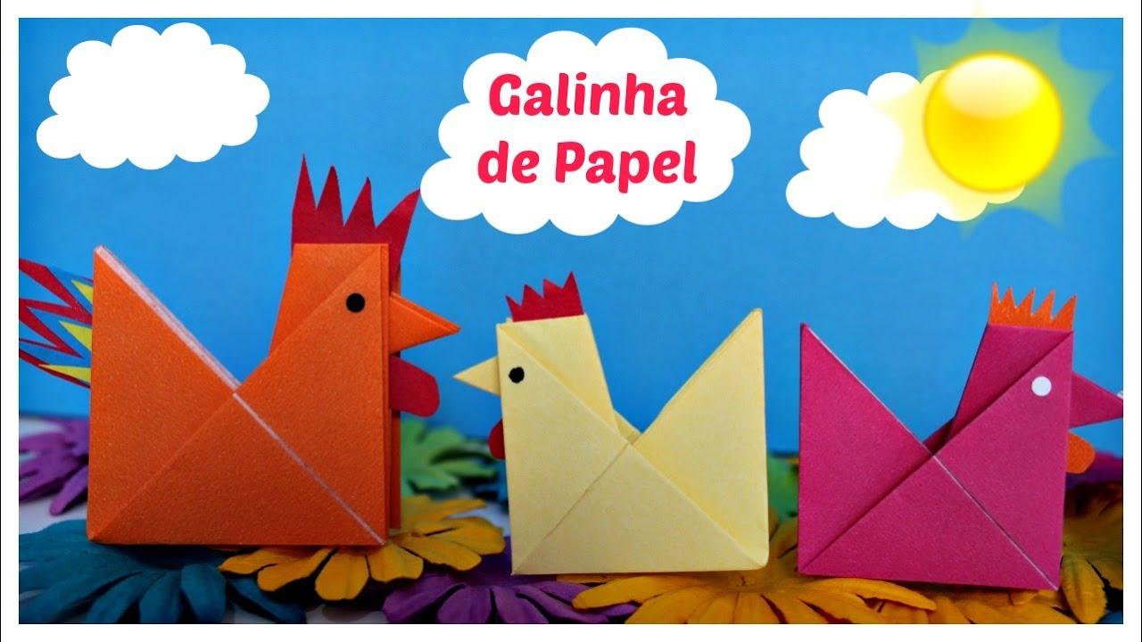 Preferência Como fazer galinha de papel - origami, dobradura de papel fácil e  VI83