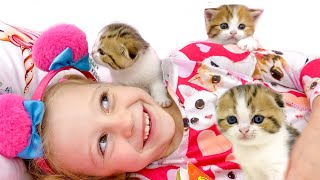 Download lagu Nastya Learns How To Foster a Kittens