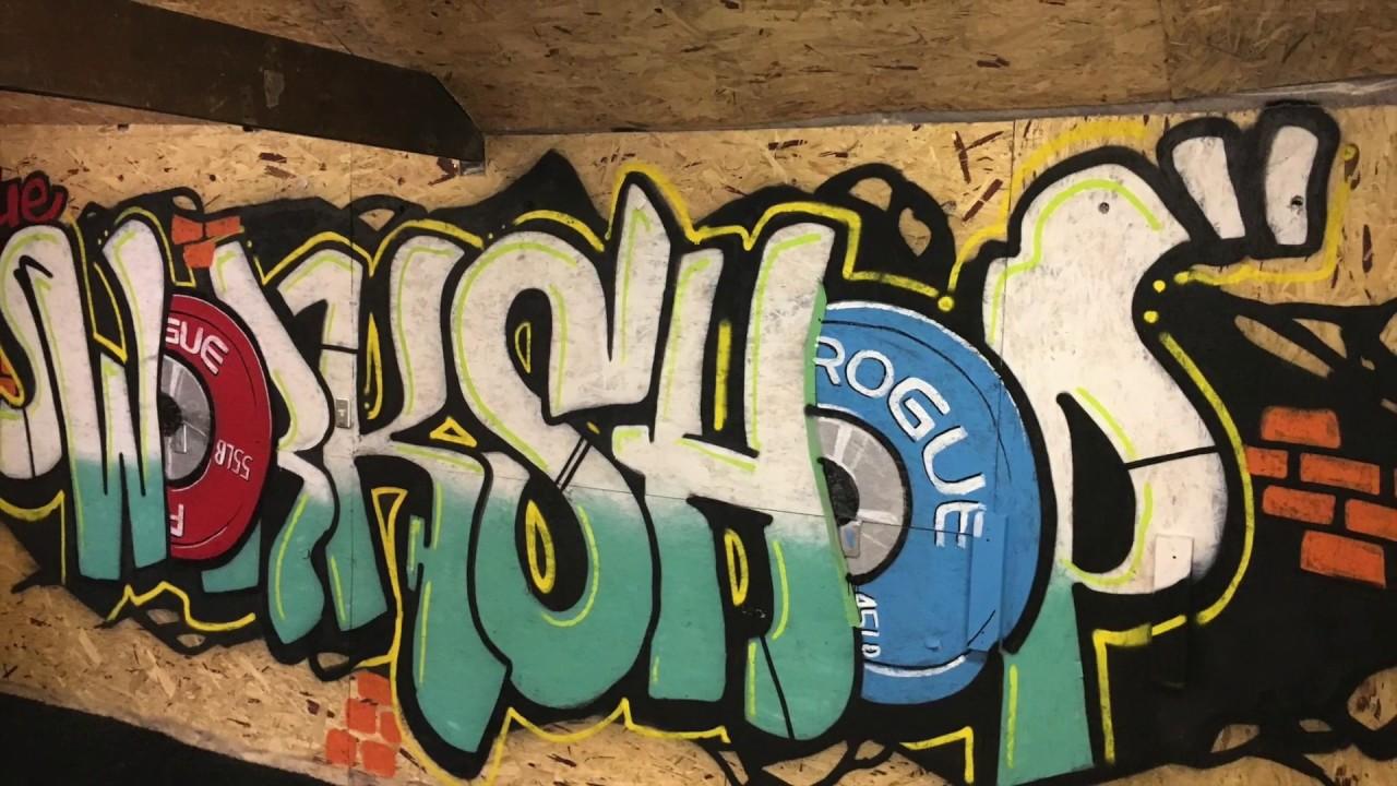 Amazing garage gym graffiti art time lapse by jon