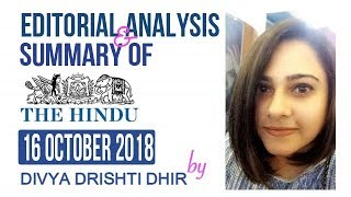 Todays 16 October 2018 The Hindu newspaper Analysis & Editorial Discussion