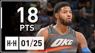 Paul George Full Highlights Thunder vs Wizards (2018.01.25) - 18 Pts, 4 Steals | 2017-18 NBA Season