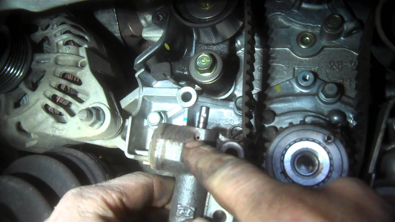 timing belt replacement hyundai sonata 2 7l v6 2005 water pump install remove replace [ 1280 x 720 Pixel ]