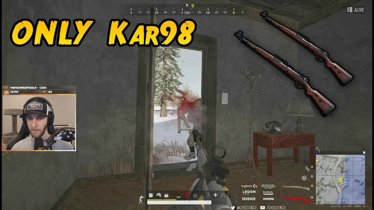 CHOCOTACO KAR98 ONLY GAME | PLAYERUNKNOWN'S BATTLEGROUNDS (9/23/19) thumbnail