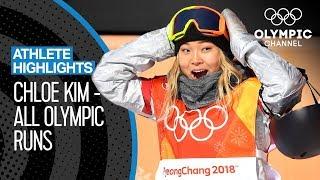 All Chloe Kim 🇺🇸 Olympic medal runs | Athlete Highlights