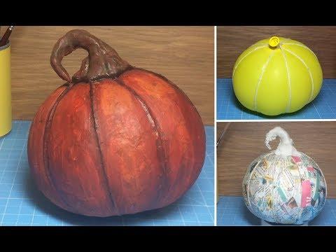 How To Make DIY Paper Mache Halloween Pumpkin  (school project craft idea)