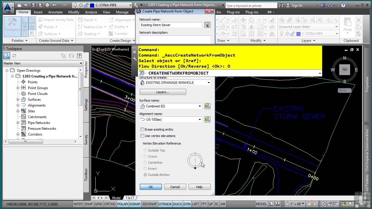 AutoCAD Civil 3D 2014 Tutorial | Creating A Pipe Network From Objects