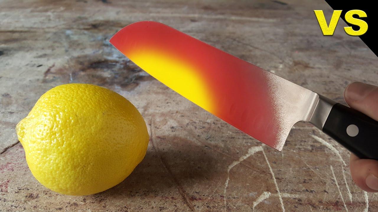 EXPERIMENT Glowing 1000 degree KNIFE VS LEMON