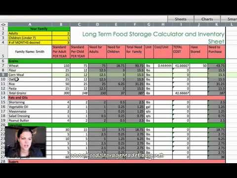 Long Term Food Storage Calculator Tutorial Youtube