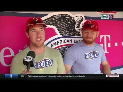 Jim Hayes talks to buddies Jedd Gyorko and Brandon Moss
