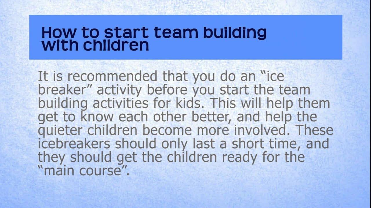 Team Building Activities For Kids Youtube