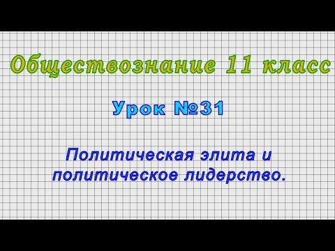 Обществознание 11 класс (Урок№31 - Политическая элита и политическое лидерство.)