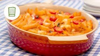 Cremiger Nudelauflauf mit Tomaten und Mozzarella #vegetarisch