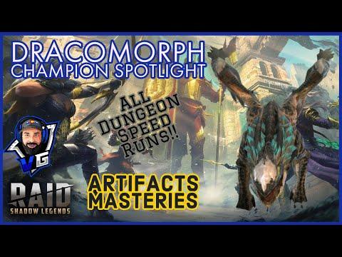 Raid Shadow Legends Dracomorph Champion Guide & Masteries | All Dungeon Speed Runs