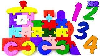 Учим цифры 1-26 | Учимся считать от 1 до 26| Учимся считать и складывать пазл Паровоз | Пазл поезд