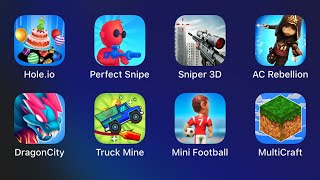 Perfect Snipe,Sniper 3D,Assassin's Creed Rebellion,Dragon City,Truck Mine,Mini Football,Multicraft