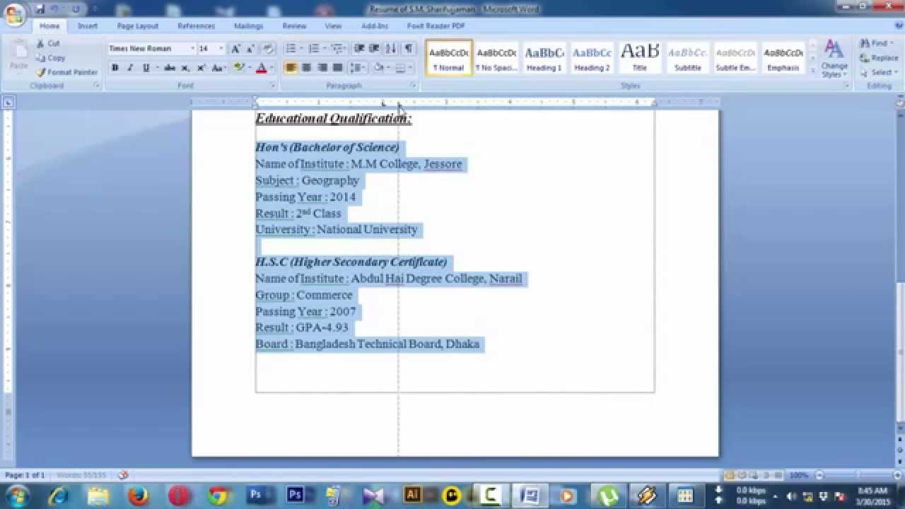 How To Create Resume On Word How To Create A Resume Cv For Job Application In Ms Word