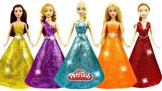 DIY How to Make Play Doh Super Glitter Dresses for Disney Princesses