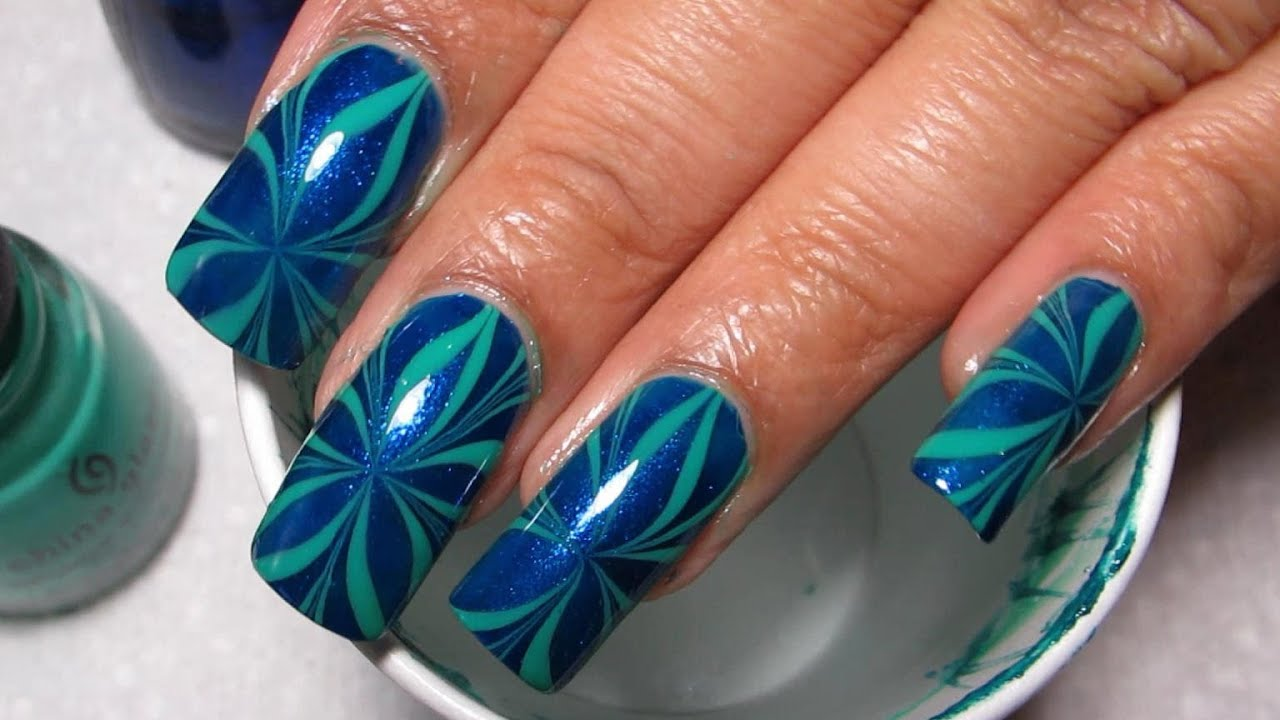 Blue Green Star Water Marble March 2012 11 Diy Nail Art