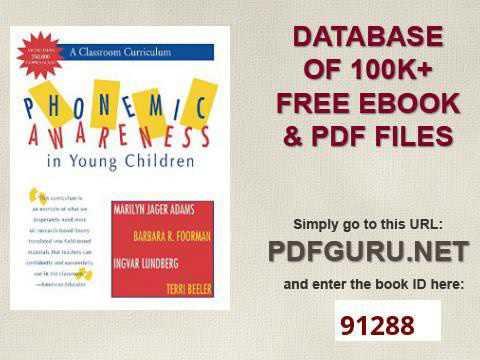 Phonemic Awareness in Young Children A Classroom Curriculum