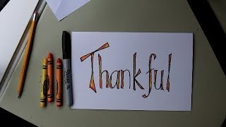 How To Make A Thanksgiving Card / Place Setting Card / Scrapbook Lettering- Easy Lesson