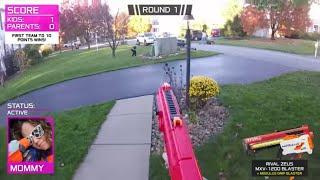 Nerf War:  Parents vs Kids 3
