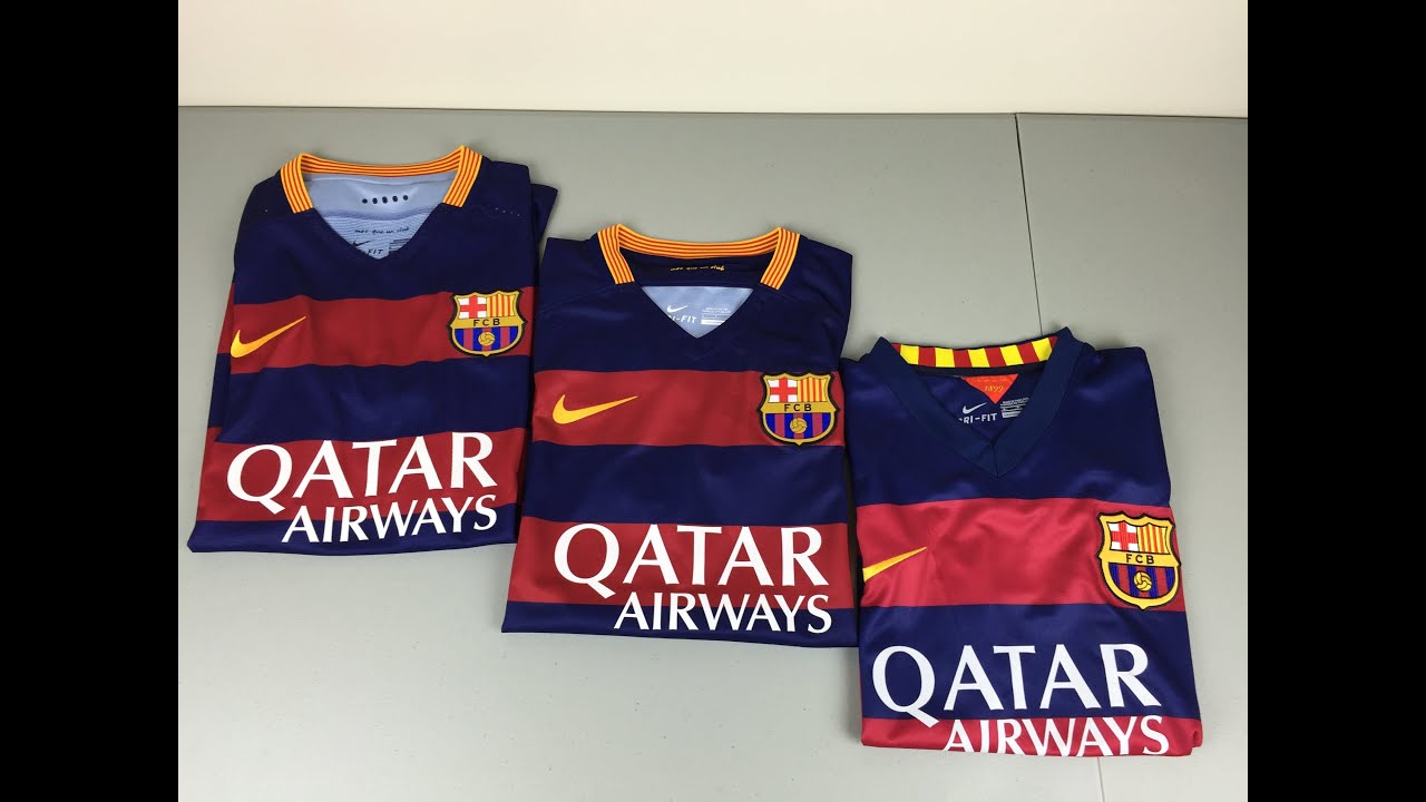 Authentic vs Replica vs Fake 2015 2016 FC Barcelona Home Jerseys -  Comparison  4K  462e1b483