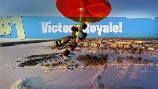 Fortnite in Real Life? [IRL Ninja landing at frozen loot lake]