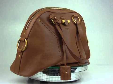 YVES SAINT LAURENT Leather MUSE BOWLER Handbag Brown - YouTube