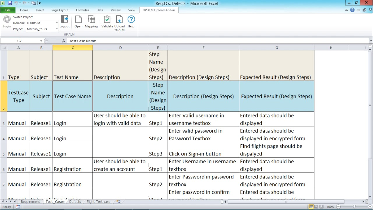HP ALM - Import Test Cases From Excel