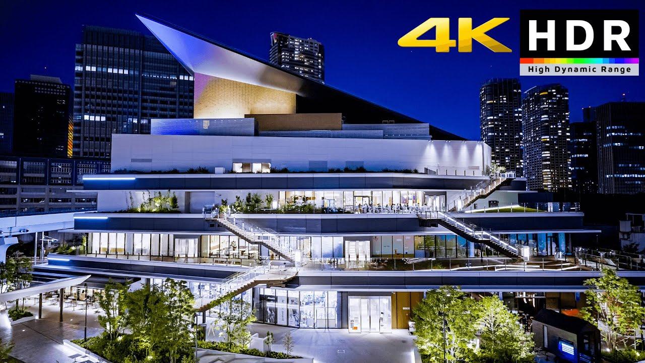 【4K HDR】Tokyo Future City Takeshiba Night Walk 2021