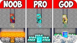 UNDERGROUND TREASURE BLOCK CHEST! Minecraft: NOOB vs PRO vs GOD! CHALLENGE 100% TROLLING!
